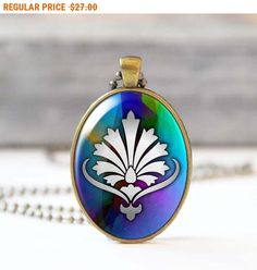 SALE Flower pendant Charm necklace Floral photo necklace Oval Glass dome pendant 5023-9 by StudioDbronze