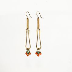 Hand formed brass earrings with carnelian stones and czech glass beads.Nickel-free and lead-free antique brass earwires.
