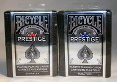 DuraFlex 100% Plastic Playing Cards by Bicycle - 2 Decks by Bicycle. $17.95. Includes one red deck and one blue deck in two individual clear holders. Has the rider back logo in the middle of the card backs. Many professionals prefer the flexibility and durability of plastic cards. Bicycle Prestige offers unmatched durability and is the only 100% plastic card to offer a paper-like feel. Perfect for a neighborhood game or a professional tournament.
