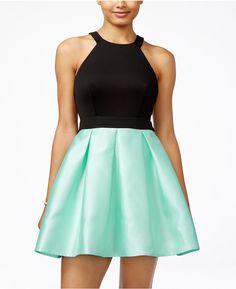 73a2f6c8b57f Teeze Me Juniors  Colorblocked Fit  amp  Flare Dress Fit Flare Dress