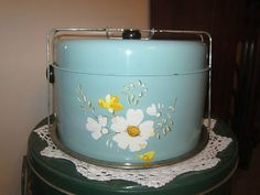 Vintage Turquoise / Aqua Tin Cake / Pie Keeper Carrier ( Awesome ) | eBay