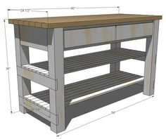 for a Kitchen Island w/ 2 shelves & 2 drawers. Site has building plans for bunches of DIY furniture. New board?Plans for a Kitchen Island w/ 2 shelves & 2 drawers. Site has building plans for bunches of DIY furniture. New board? Diy Furniture Plans, Pallet Furniture, Furniture Projects, Kitchen Furniture, Rustic Furniture, Kitchen Decor, Kitchen Ideas, Diy Projects, Furniture Stores
