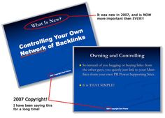 Controlling your Own Network of Backlinks