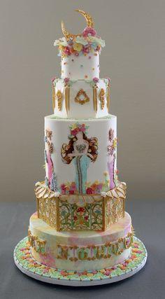 Pièce-montée gâteau thème oeuvre d'art style Art Nouveau / Masterpiece & art nouveau theme wedding cake - Mucha inspiration Homemade Cakes, Oeuvre D'art, Art Nouveau, Desserts, Inspiration, Food, Style, Funky Art, Tailgate Desserts