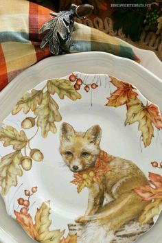 Fall Table with Woodland Friends Salad Plates and Natural DIY Table Runner with Leaves, Acorns, Dried Hydrangeas and Votives Thanksgiving Table Settings, Thanksgiving Decorations, Autumn Decorations, House Decorations, Cunning Fox, Autumn Table, Christmas Tablescapes, Holiday Tables, Woodland Decor
