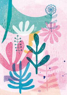 Organic Shapes Pink Archival Art Print