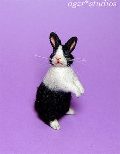 OOAK 1:12 Dollhouse Miniature Bunny Rabbit Pet Furred Handmade By AGZR STUDIOS