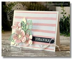 handmade thank you card .. soft pastel pink and green with a black sentimen strip ... luv the coloring on the Botanical Blooms ... Stampin' Up!