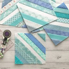 Little Blue Lake Quilt - Threadbare CreationsYou can find Scrappy quilts and more on our website.Little Blue Lake Quilt - Threadbare Creations Scrappy Quilt Patterns, Jellyroll Quilts, Scrappy Quilts, Patchwork Quilting, Easy Quilts, Crazy Quilting, Crazy Patchwork, Quilting Tutorials, Quilting Projects