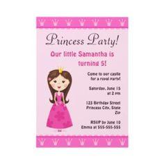 Pink princess party invitations