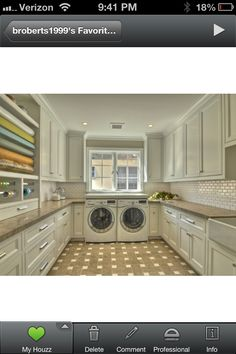LAUNDRY ROOM – Another great design idea for a well-functioning laundry room. Room for wrapping station and lots of storage in the Laundry Room Laundry Craft Rooms, Laundry Room Storage, Laundry Room Design, Laundry Area, Small Laundry, Large Laundry Rooms, Basement Laundry, Storage Room, Storage Shelves