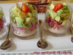 Mini Salads with avocado
