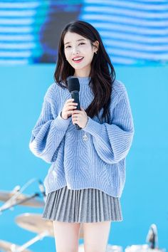 """""""Don't be deceived by her beautiful smile and innocent face because this small bean IU is actually a monster when it comes to Music Charts.Reason why some big fandoms hate her sometimes since she has the ability to stop their idol's song from getting Kpop Fashion, Korean Fashion, Fashion Outfits, Womens Fashion, Korean Girl, Asian Girl, Kpop Mode, Soyeon, Korean Celebrities"""