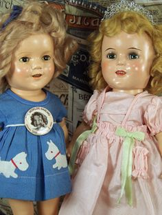 Shirley dolls,  the doll on the left has on a dress from 'Stowaway'