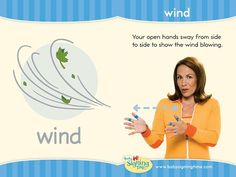 WIND: Your open hands sway from side to side to show the wind blowing! Sign Language Book, Sign Language Chart, Sign Language For Kids, Sign Language Phrases, Learn Sign Language, American Sign Language, Baby Asl, Learn To Sign, Deaf Children