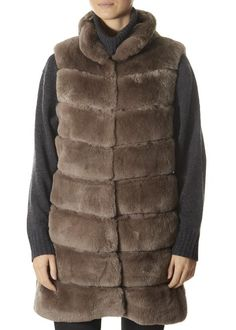 Taupe Real Rex Rabbit Fur Gilet