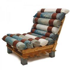 Jeans-leg pillows! Love it! Reminds me of a giant Jacob's Ladder cushion.(LA)//