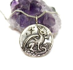 Dragon Medallion - DOUBLE SIDED - SILVER - baby dragon, flying dragon - renaissance - dragon necklace