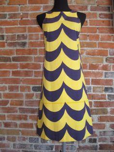 Vintage 1960's Mod Marimekko Geometric Stripe Dress A Line Shift Navy Yellow