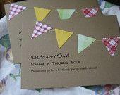 Custom Picnic/BBQ pennant party/wedding invitations
