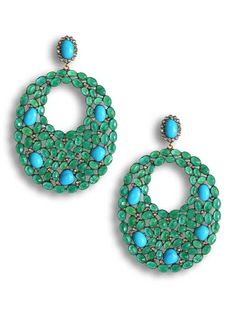 Yellow Gold Post and Oxidized Silver Emerald and Turquoise with Pave Diamonds Large Open Oval Pierced Earrings at Jennifer Miller