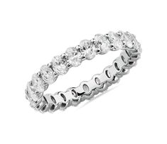 Oval Cut Diamond Eternity Ring in Platinum by Blue Nile Radiant Cut Diamond, Diamond Cuts, Diamond Bands, Wedding Ring Designs, Wedding Rings, Top Engagement Rings, Eternity Ring Diamond, Eternity Rings, Diamond Shop