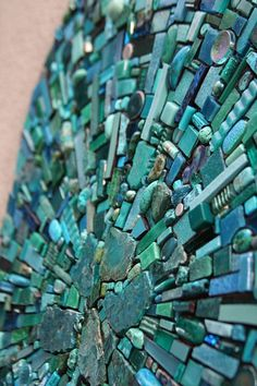 "Mosaic my favorite colors! By artist, Sonia King (""Nebula Aqua"" is a mosaic installation on the walls for a private home) Mosaic Birds, Mosaic Art, Mosaic Glass, Stained Glass, Glass Art, Blue Mosaic, Mosaic Flowers, Sea Glass, Shades Of Turquoise"