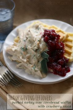 Herbed Turkey over Cornbread Waffles with Cranberry Sauce #ThanksgivingLeftovers #SundaySupper