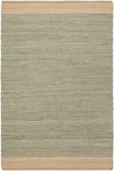 100% all-natural jute and cotton, hand-woven Davidson Rug in soft shades of teal blue-green and khaki.