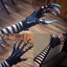 """""""More progress on my Xenomorph claws /gauntlet! Claws and wrist bones painted and glosses over. Also have a strap base for the armor to sit on top of. hopefully will finish the gauntlet in the next 48 hours. Cosplay Armor, Cosplay Diy, Cosplay Outfits, Edgy Outfits, Mode Outfits, Cosplay Costumes, Fashion Outfits, Cosplay Wings, Pretty Knives"""
