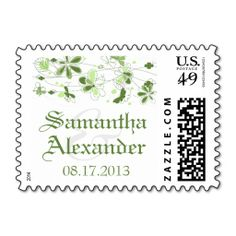 Green Floral Butterfly Wedding Postage Stamps