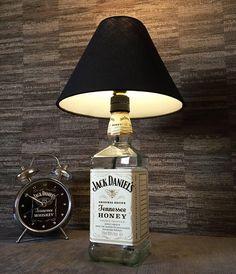Jack Daniels Honey Whisky Bottle Lamp With Black Coolie Shade