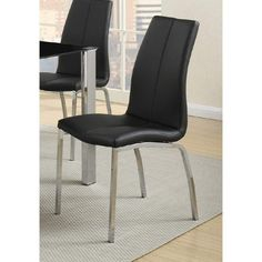 Contemporary Faux Leather Upholstery Dining Chair, Set Of 4, Black And Chrome Mismatched Dining Chairs, 4 Dining Chairs, Kitchen Chairs, Upholstered Dining Chairs, Dining Room Chairs, Side Chairs, Chair Upholstery, Kitchen Dining, Bar Furniture