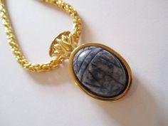 KJL Kenneth Jay Lane Egyptian Revival Scarab Gold Tone Pendant Necklace vintage #KennethJayLane #NecklacePendant