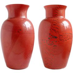 Large Murano Red Applied Heavy Silver Leaf Italian Art Glass Flower Vases   From a unique collection of antique and modern vases and vessels at https://www.1stdibs.com/furniture/decorative-objects/vases-vessels/