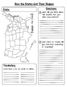 A simple no-prep worksheet to go along with the History Channel's How the States Got Their Shapes TV show.