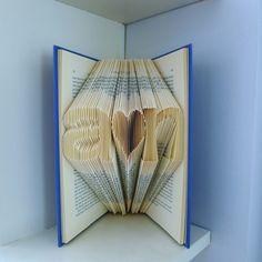 First Anniversary Gift for Boyfriend - Paper Anniversary  Folded Book  Sculpture Gift - Handmade - Gift for Him - Gift for Her. $55.00, via Etsy.