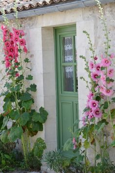 Pretty green painted door and pink hollyhocks make a welcoming entrance