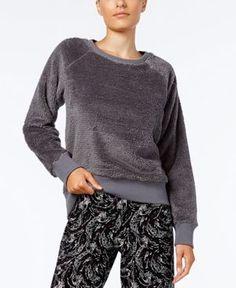 Alfani Fuzzy Pajama Top, Created for Macy's - Gray XXXL