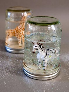 How to Make Glitter Snow Globes From Mason Jars by diynetwork #DIY #Snow_Globe #Glitter #Mason_Jar
