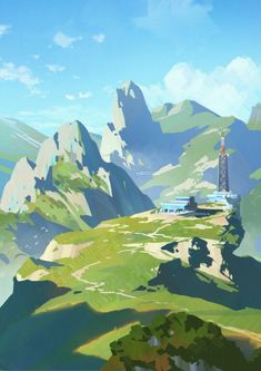 ArtStation-Color practice, Shuhao jiang Best Picture For Character Design woman For Your Taste You are looking for something, and it Landscape Concept, Fantasy Landscape, Landscape Art, Landscape Paintings, Fantasy Art, Watercolor Landscape, Landscape Architecture, Landscape Drawings, Landscape Illustration