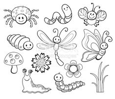 vector-set-of-cute-cartoon-bug-line-art-coloring-vector-id494711206 449×384 pixels
