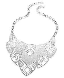 Style&co. Necklace, Silver-Tone Cut-Out Design Bib Necklace