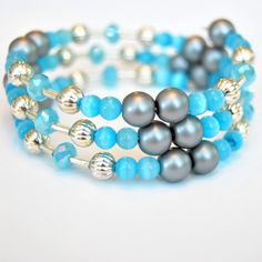 Grey Costume Pearl Bracelet with Blue and Silver Accent on Memory Wire by byMelissaBrooks on Etsy