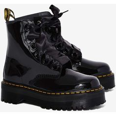 Dr. Martens Molly Leather Boot ($160) ❤ liked on Polyvore featuring shoes, boots, black bootie, platform ankle boots, black ankle boots, leather boots and round toe ankle boots