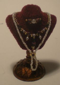 Jewelry on Bust #55 by Lori Ann Potts - $75.00 : Swan House Miniatures, Artisan Miniatures for Dollhouses and Roomboxes