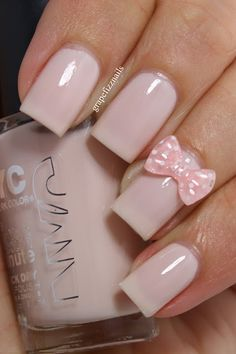 cute bow #nailarts #nails | See more nail designs at http://www.nailsss.com/nail-styles-2014/