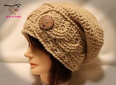 Ravelry: Cable Slouch or Ear Warmer Crochet Pattern pattern by April Bennett with Cuddle Me Beanies