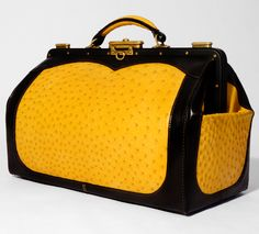 Antique 1920's Doctor bag with yellow ostrich leather; Trawick & Martin