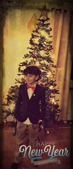 New year 2015 boy outfit blazer Christmas tree